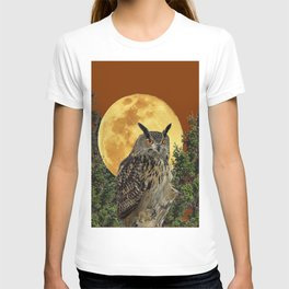 BROWN WILDERNESS OWL WITH FULL MOON & TREES T-shirt