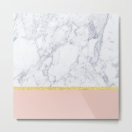 Marble Peach Metal Print