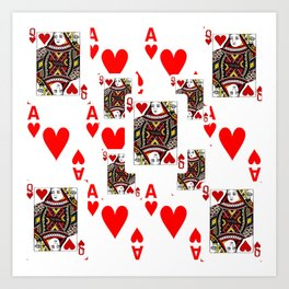 RED QUEEN OF HEARTS  & ACES PLAYING CARDS ARTWORK Art Print