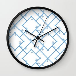 Bamboo Chinoiserie Lattice in White + Light Blue Wall Clock