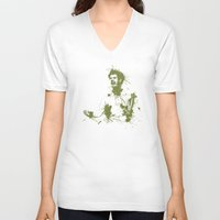murray V-neck T-shirts featuring Andy Murray Wimbledon Tennis by DanielBergerDesign