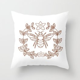 Bumblebee Coffee Flower Leaves Icon Throw Pillow