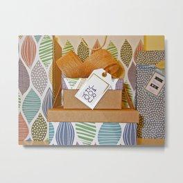 Background birthday bow box Metal Print