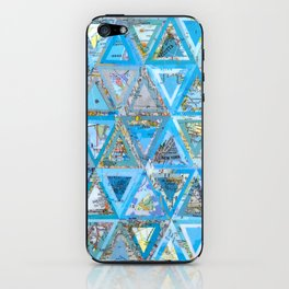 Blue Triangle Map Collage iPhone Skin