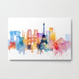 Paris Watercolor skyline Metal Print