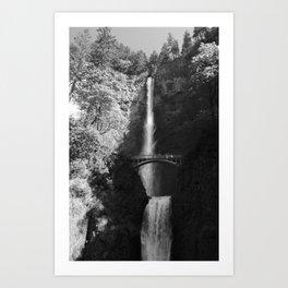 Multnomah Falls Oregon Waterfall Black and White Art Print