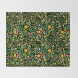 Sunshine Botanical - Dark Version Throw Blanket