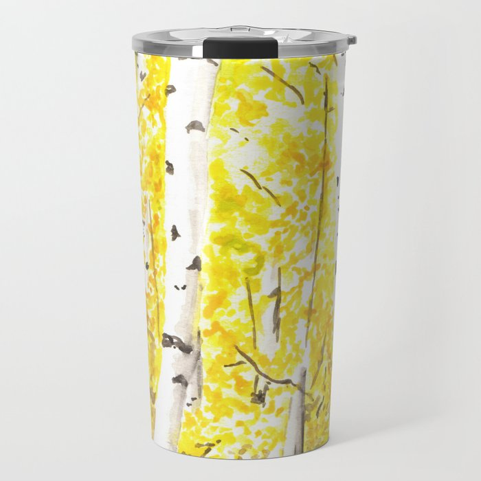 Yellow Aspen Trees Watercolor art Painting Yellow Birches wall ...