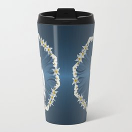 White Tiger with Orchid Grass Wreath Travel Mug