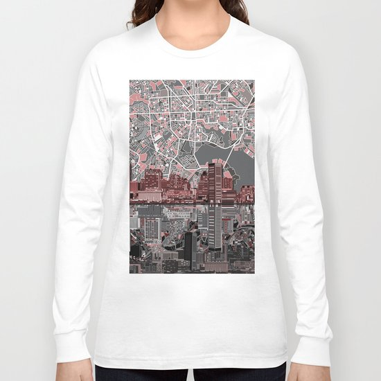 baltimore city skyline abstract Long Sleeve T-shirt