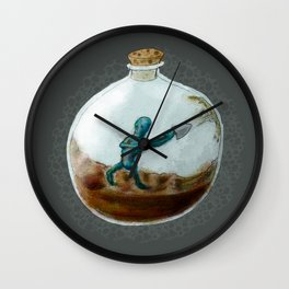 Man In A Bottle Wall Clock