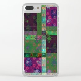 Lotus flower green and maroon stitched patchwork - woodblock print style pattern Clear iPhone Case