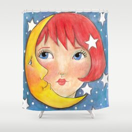 Whimiscal Moon Girl Shower Curtain