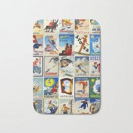 Vintage Skiing Posters Bath Mat