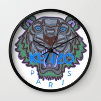 kenzo Wall Clocks featuring Kenzo tiger with seamns blue by cvrcak