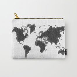 World Map Black Sketch, Map Of The World, Wall Art Poster, Wall Decal, Earth Atlas, Geography Map Carry-All Pouch