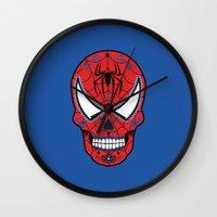 superheros Wall Clocks featuring Spidey Sugar Skull by Clark Street Press
