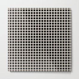 Grid Pattern 313 Black and Linen Metal Print