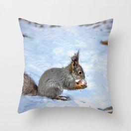 Walnut with snow Throw Pillow