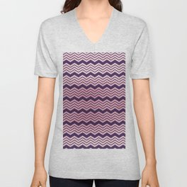 Geometrical purple pastel pink ombre chevron Unisex V-Neck