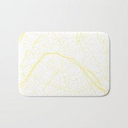 Paris France Minimal Street Map - White on Yellow Bath Mat