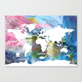 World map yoga energy colors Canvas Print