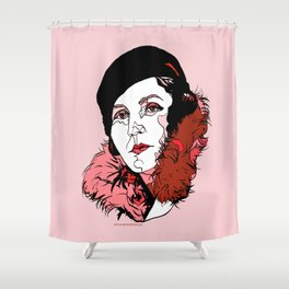Germaine Tailleferre Female Composer Les Six, Ravel Paris Piano Harp vintage 1920s flapper lady Shower Curtain