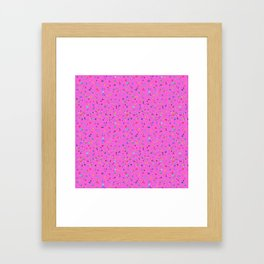 Hand-drawn Dots on Hot Pink, small print Framed Art Print