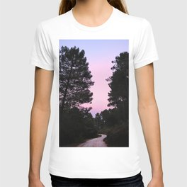 Pink sunrise. Into the woods. T-shirt