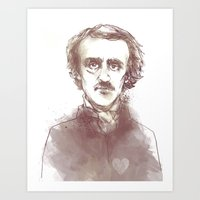 edgar allen poe Art Prints featuring Edgar Allen Poe by Andrew Brennan