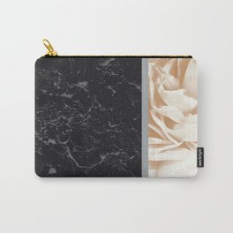 Cafe Au Lait Flower Meets Gray Black Marble #5 #decor #art #society6 Carry-All Pouch