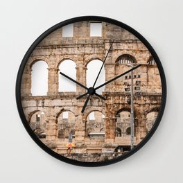 Pula Arena Rain Photography Colorful Umbrella Wall Clock