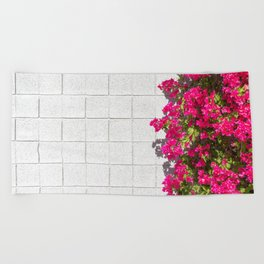 Bougainvilleas and White Brick Wall in Palm Springs, California Beach Towel