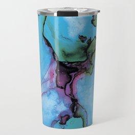 Blue cian abstract Travel Mug