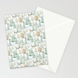 Woodland Animals in Winter Forest Stationery Cards
