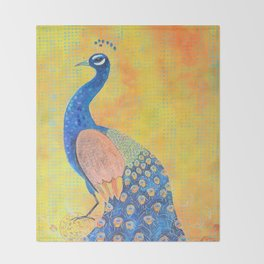 Peacock - The Protector Throw Blanket