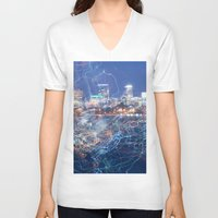 minneapolis V-neck T-shirts featuring Minneapolis Neon by Andrew C. Kurcan
