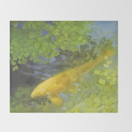 Yellow Carp in Green_painting Throw Blanket