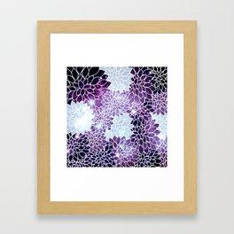 Space Dahlias Purple Ice Framed Art Print