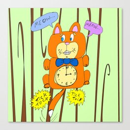 Tick Tock Meow Meow - 3 o'clock Cat Clock Canvas Print