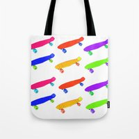 skateboard Tote Bags featuring Skateboard Pattern by Jaime Cartwright
