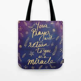 Purple Blue Typography Prayer Miracle Faith Spirituality Quote Watercolor Motivational Art Print Tote Bag