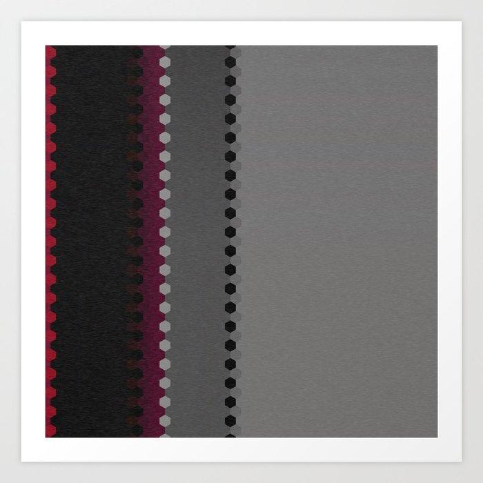 Modern Burgundy Grey Black Stripe Dot Pattern Art Print
