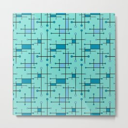 Intersecting Lines in Mint and Blues Metal Print