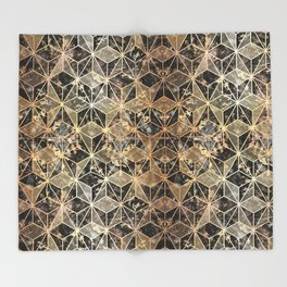 Gold Marble Geometric Throw Blanket