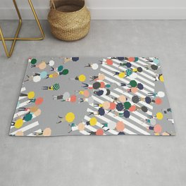 Crossing The Street on a Rainy Day - Grey Rug