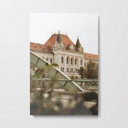 Green iron bridge in Zrenjanin, Serbia / Sunshine / Summer Metal Print