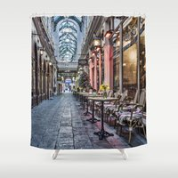 cafe Shower Curtains featuring Arcade Cafe by Steve Purnell
