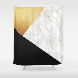 GOLDEN MARBLE TRIANGLE Shower Curtain