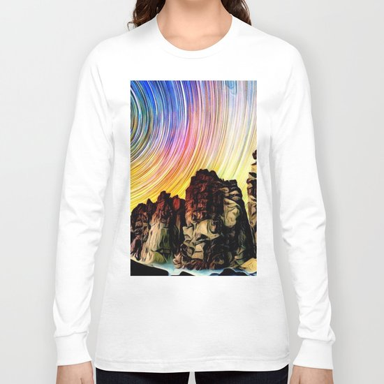 Epic Sunset Aurora Lights with Mountains and River Long Sleeve T-shirt